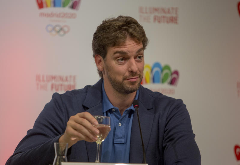 Spain's basketball player Pau Gasol attends a news conference in Buenos Aires, Argentina, Thursday, Sept. 5, 2013. During the Sept. 4-10 IOC meetings in Buenos Aires, members will elect the host city for the 2020 Summer Olympics Games, with candidates being Madrid, Istanbul and Tokyo, as well as choose a new IOC president and add a sport to the 2020 program. (AP Photo/Ivan Fernandez)