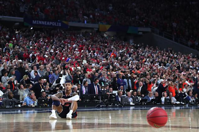 <p>Bryce Brown #2 of the Auburn Tigers reacts after being defeated by the Virginia Cavaliers 63-62 during the 2019 NCAA Final Four semifinal at U.S. Bank Stadium on April 6, 2019 in Minneapolis, Minnesota. (Photo by Tom Pennington/Getty Images) </p>