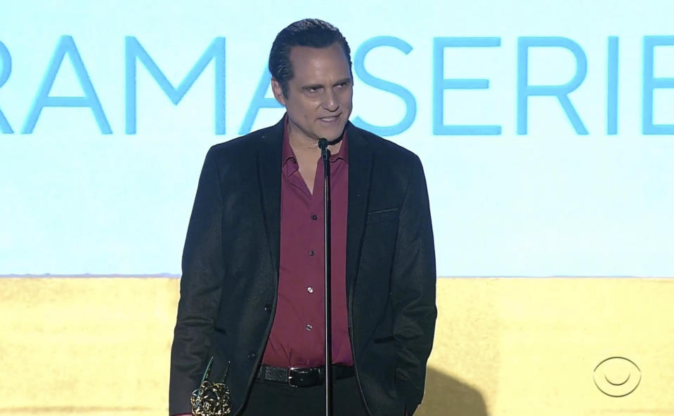 """In this video image provided by NATAS and the Daytime Emmys, Maurice Benard accepts the award for outstanding performance by a lead actor in a drama series for """"General Hospital"""" during the 48th Daytime Emmy Awards on Friday, June 25, 2021. (NATAS/Daytime Emmys via AP)"""