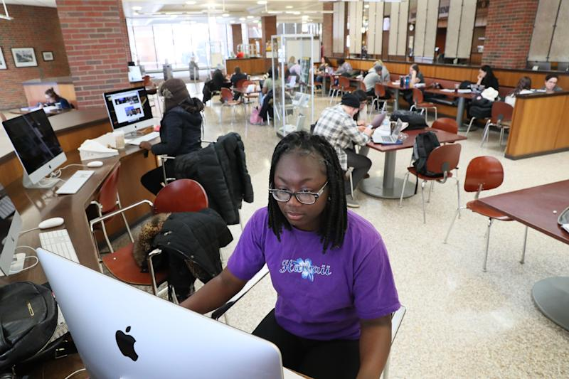 Sh'Tejah Ward works in the Golda Meir Library on the University of Wisconsin-Milwaukee campus. She graduated from high school in 2019, after getting straight A's for her final three semesters. She enrolled at the University of Wisconsin-Milwaukee but didn't get enough financial aid to cover everything.