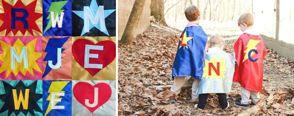 """Get your kids into cosplay while encouraging them to create their own characters and stories. Plus, who doesn't look great in a cape?<br /><br />Select a cape and add on options like a mask, wristbands and a belt. Then personalize it by choosing the cape color, shape and shape color, and letter and letter color.<br /><br />Capes and More is an Etsy shop founded in 2014 that makes original superhero capes for kids and adults.<br /><br /><strong>Promising review:</strong>""""We love this cape! I got this for my 15-month-old because she loves taking my dish towels and trying to put them on as capes. The cape is a little big for her yet lengthwise, but she still loves it! :) and it came so fast!"""" —<a href=""""https://go.skimresources.com?id=38395X987171&xs=1&xcust=HPToddlerToys607dd44ee4b0df3610beec33&url=https%3A%2F%2Fwww.etsy.com%2Fpeople%2Fkmaxson67"""" target=""""_blank"""" rel=""""noopener noreferrer"""">Katelyn Maxson</a><br /><strong><br />Get it from<a href=""""https://go.skimresources.com?id=38395X987171&xs=1&xcust=HPToddlerToys607dd44ee4b0df3610beec33&url=https%3A%2F%2Fwww.etsy.com%2Fshop%2FCapesAndMore"""" target=""""_blank"""" rel=""""noopener noreferrer"""">Capes and More</a>on Etsy for<a href=""""https://go.skimresources.com?id=38395X987171&xs=1&xcust=HPToddlerToys607dd44ee4b0df3610beec33&url=https%3A%2F%2Fwww.etsy.com%2Flisting%2F245774207%2Fsuperhero-capes-for-children"""" target=""""_blank"""" rel=""""noopener noreferrer"""">$16+</a>.</strong>"""