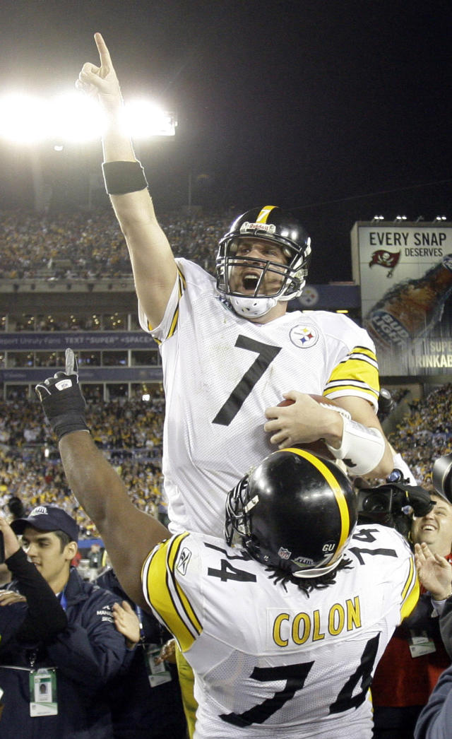 FILE - In this Feb. 1, 2009 file photo Pittsburgh Steelers quarterback Ben Roethlisberger, top, and his teammate Willie Colon celebrate after the Steelers' 27-23 win against the Arizona Cardinals in the NFL Super Bowl XLIII football game in Tampa, Fla. Overall, the AFC won seven of 10 Super Bowls in the 2000s decade with Roethlisberger leading Pittsburgh to a pair of titles. (AP Photo/Chris O'Meara, file)