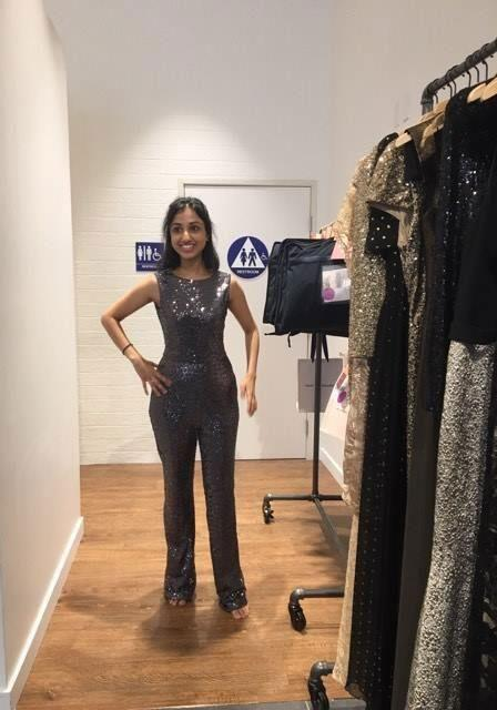 Trying out my vintage outfit at Rent The Runway before music's night of nights. Source: Be