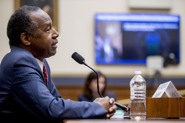 Housing and Urban Development Secretary Ben Carson testifies at a House Financial Services Committee oversight hearing on Capitol Hill in Washington, Tuesday, May 21, 2019.(AP Photo/Andrew Harnik)