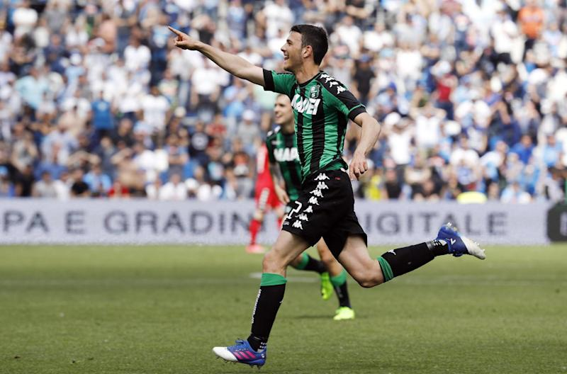 Sassuolo's Luca Mazzitelli celebrates after scoring during the Serie A soccer match between Napoli and Sassuolo, at the Mapei Stadium in Reggio Emilia, Italy, Sunday, April 23, 2017. (Elisabetta Baracchi/ANSA via AP)