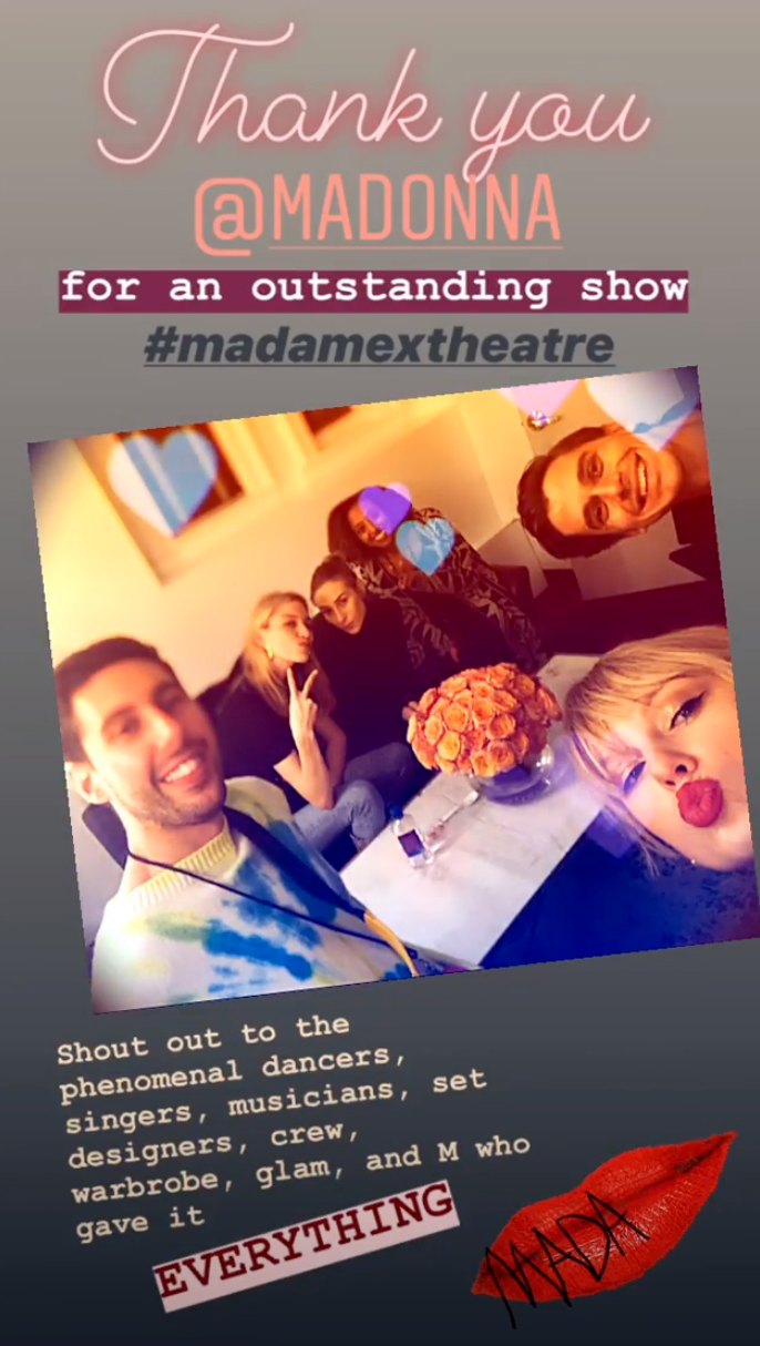 Taylor Swift, Antoni Porowski, and friends attended Madonna's Madame X concert on Saturday.