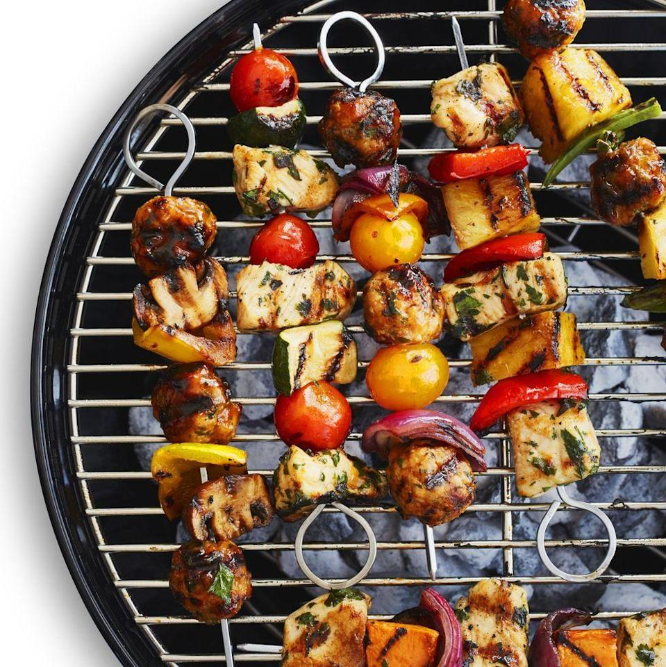 """<p>Pair juicy lemon chicken with three dynamite veggies for a fun, colorful meal so tasty you'll want to eat all of the kebabs in one sitting. </p><p><em><a href=""""https://www.womansday.com/food-recipes/a32884878/chicken-kebabs-recipe/"""" rel=""""nofollow noopener"""" target=""""_blank"""" data-ylk=""""slk:Get the Chicken Kebabs recipe."""" class=""""link rapid-noclick-resp"""">Get the Chicken Kebabs recipe.</a></em></p>"""