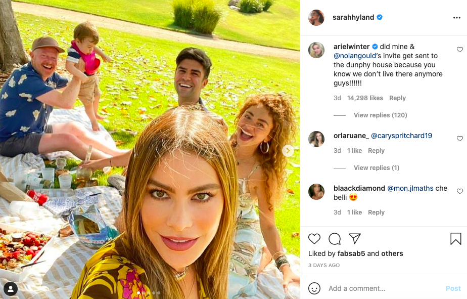 Ariel Winter wasn't invited to a mini-'Modern Family' reunion (Instagram @sarahyland)