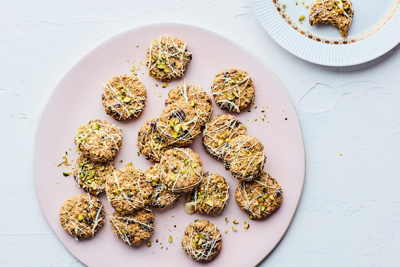 """These no-bake cookies rely on nut butter and white chocolate for their creamy, chewy texture, and a combination of oats, pistachio, and cranberries adds a nice, sweet crunch. <a href=""""https://www.epicurious.com/recipes/food/views/no-bake-pistachiowhite-chocolate-cookies?mbid=synd_yahoo_rss"""">See recipe.</a>"""