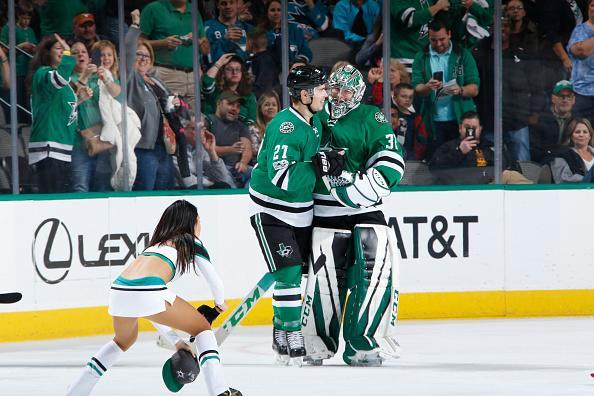 """Kari Lehtonen #32 and <a class=""""link rapid-noclick-resp"""" href=""""/nhl/players/3889/"""" data-ylk=""""slk:Adam Cracknell"""">Adam Cracknell</a> #27 of the <a class=""""link rapid-noclick-resp"""" href=""""/nhl/teams/dal/"""" data-ylk=""""slk:Dallas Stars"""">Dallas Stars</a> celebrate a goal for his first career hat-trick against the <a class=""""link rapid-noclick-resp"""" href=""""/nhl/teams/san/"""" data-ylk=""""slk:San Jose Sharks"""">San Jose Sharks</a> at the American Airlines Center on March 24, 2017 in Dallas, Texas. (Getty Images)"""