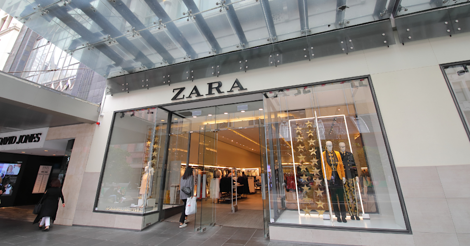 The storefront of a Zara store in Australia