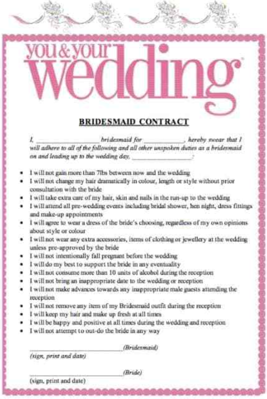 Bridesmaid contract going viral on Facebook