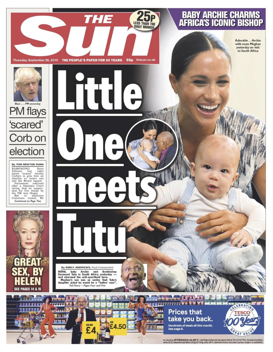 The Sun focused on Prince Harry and Meghan Markle's royal tour in South Africa, with a picture of baby Archie, who met Archbishop Desmond Tutu during the couple's trip.