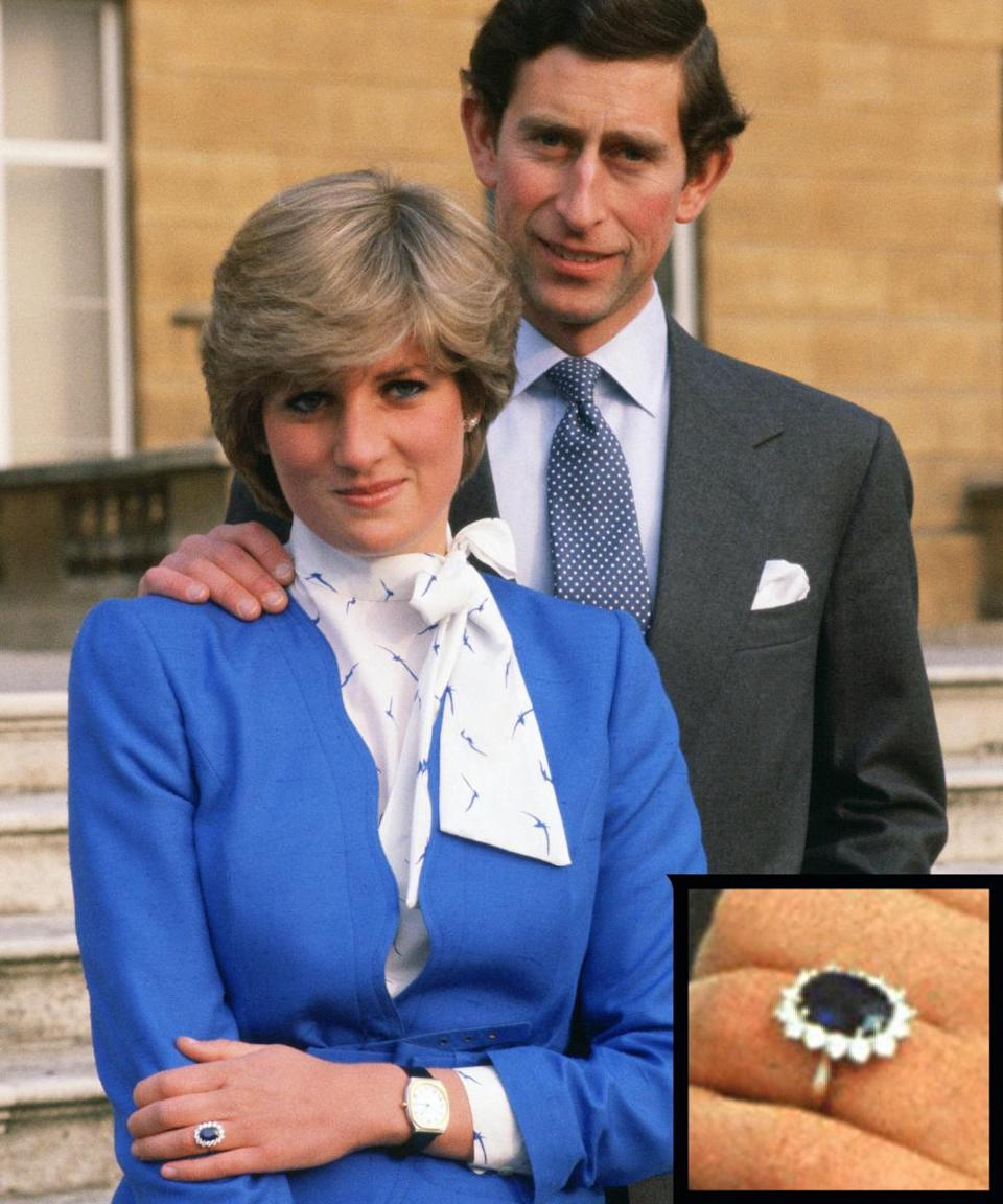 <p>Prince Charles proposed to the late Princess Diana in 1981 with an 18-carat sapphire and diamond ring. The couple divorced in 1996.</p>