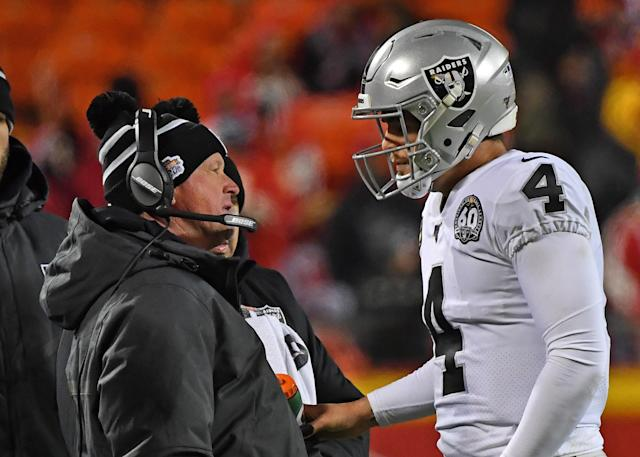 "Jon Gruden and <a class=""link rapid-noclick-resp"" href=""/nfl/players/27564/"" data-ylk=""slk:Derek Carr"">Derek Carr</a> didn't have many answers for the Chiefs at Arrowhead Stadium on Sunday. (Photo by Peter Aiken/Getty Images)"