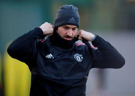 FILE PHOTO: Soccer Football - Champions League - Manchester United Training - Aon Training Complex, Manchester, Britain - December 4, 2017 - Manchester United's Zlatan Ibrahimovic during training. Action Images via REUTERS/Jason Cairnduff/File Photo