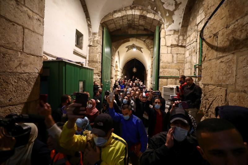 Al-Aqsa mosque reopened to worshippers after a two-and-a-half month closure due to the outbreak of the coronavirus disease (COVID-19), in Jerusalem's Old City