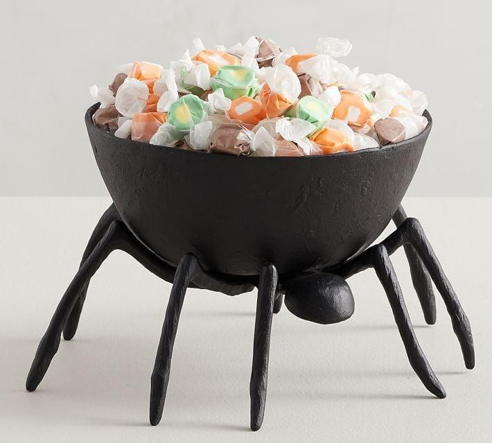 <p>Watch out! Your candy might roam off in this <span>Trick or Treat Spider Handcrafted Metal Candy Bowl</span> ($70).</p>