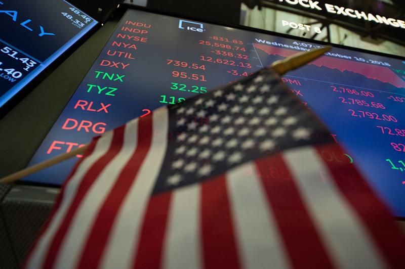 US markets dropped on Wednesday, after the IMF cut growth forecasts: AFP/Getty Images