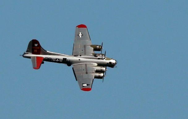 PHOTO: In this June 6, 2016, file photo, a World War II-era Boeing B-17 Flying Fortress airplane banks in the air as it comes in for a landing in Seattle on the anniversary of D-Day. (Ted S. Warren/AP, FILE)