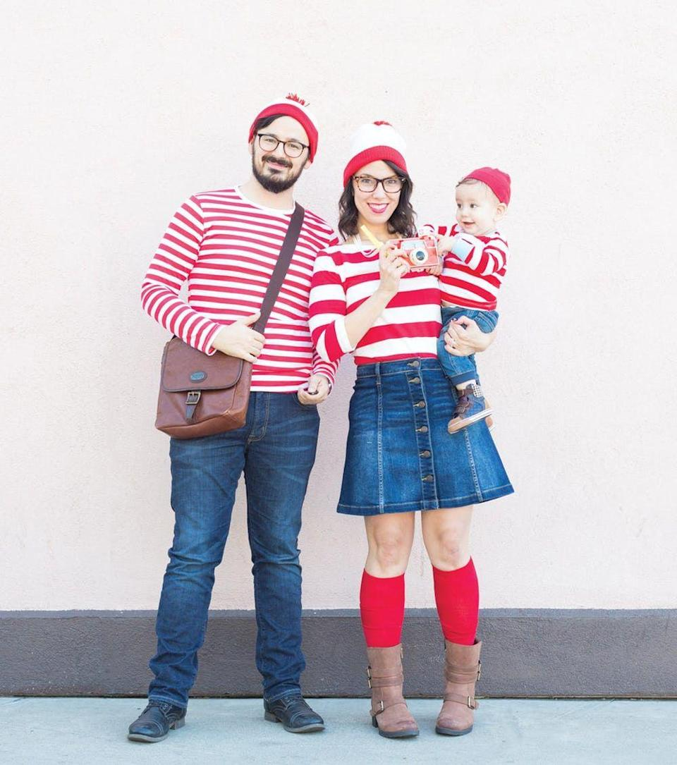 """<p>Here's a costume that's as simple as it is fun. A quick trip to your local department store will have you ready to go in no time.</p><p><strong>Get the tutorial at <a href=""""https://lovelyindeed.com/wheres-waldo-family-halloween-costumes/"""" rel=""""nofollow noopener"""" target=""""_blank"""" data-ylk=""""slk:Lovely Indeed"""" class=""""link rapid-noclick-resp"""">Lovely Indeed</a>. </strong></p><p><strong><a class=""""link rapid-noclick-resp"""" href=""""https://www.amazon.com/slp/red-and-white-striped-shirt/z2pvuspxpwvv639?tag=syn-yahoo-20&ascsubtag=%5Bartid%7C10050.g.29074815%5Bsrc%7Cyahoo-us"""" rel=""""nofollow noopener"""" target=""""_blank"""" data-ylk=""""slk:SHOP STRIPED SHIRTS"""">SHOP STRIPED SHIRTS</a><br></strong></p>"""