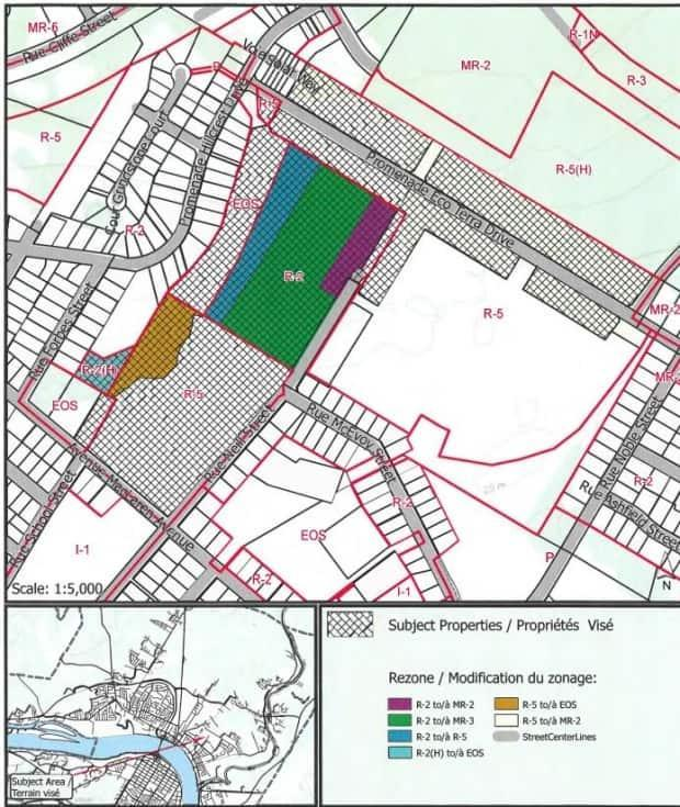 The Neill farmland in question is crosshatched in this City of Fredericton planning document. (City of Fredericton - image credit)
