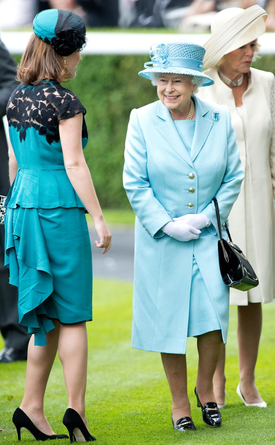 ASCOT, ENGLAND - JUNE 19:  Queen Elizabeth II and Princess Eugenie attend day 1 of Royal Ascot 2012 at Ascot Racecourse on June 19, 2012 in Ascot, United Kingdom. (Photo by Samir Hussein/WireImage)