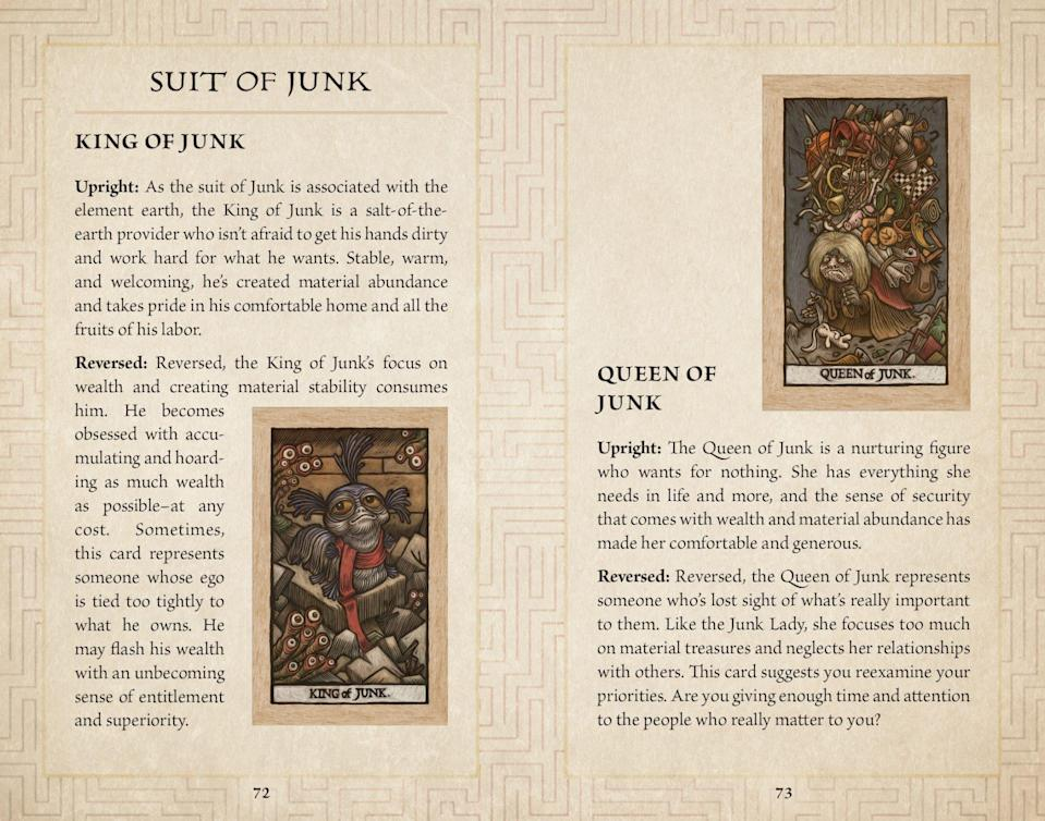 Labyrinth Suit of Junk tarot guidebook information