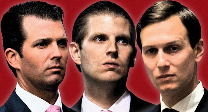 Donald Trump Jr., Eric Trump and Jared Kushner. (Yahoo News photo illustration; photos: AP)