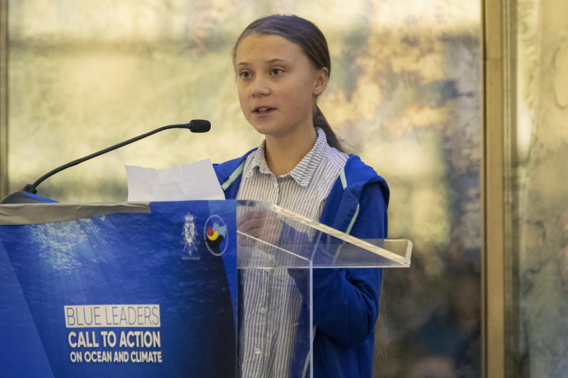 """Swedish climate activist Greta Thunberg speaks during a Blue Leaders breakfast briefing focused on the release of and Intergovernmental Panel on Climate Change Special Report on the Ocean and Cryosphere In a Changing Climate, Wednesday, Sept. 25, 2019, in New York. Thunberg is among four people named Wednesday as the winners of a Right Livelihood Award, also known as the """"Alternative Nobel."""" (AP Photo/Mary Altaffer)"""