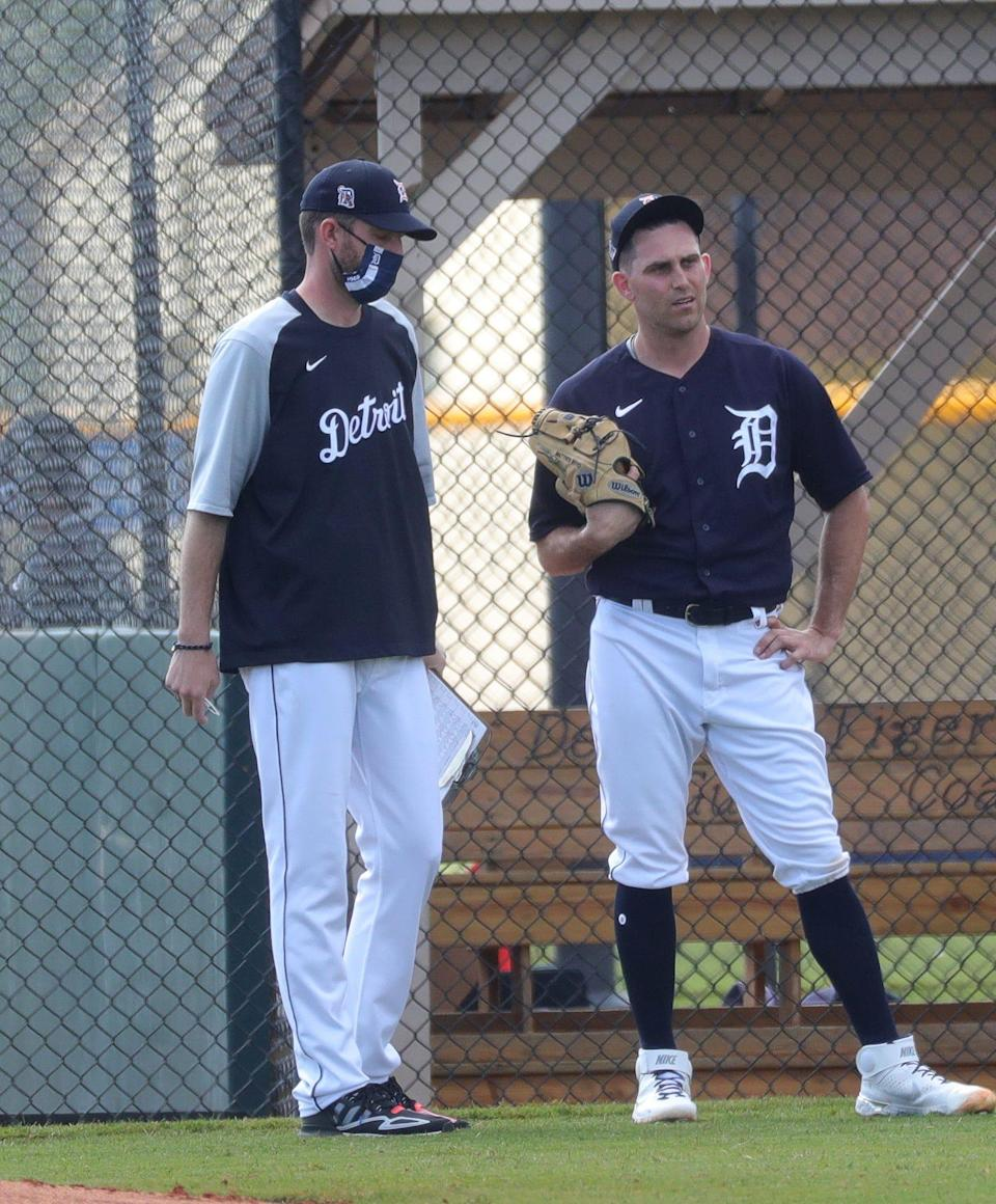 Detroit Tigers pitching coach Chris Fetter talks with Matthew Boyd on Wednesday, Feb. 24, 2021 on the Tiger Town practice fields in Lakeland, Fla.