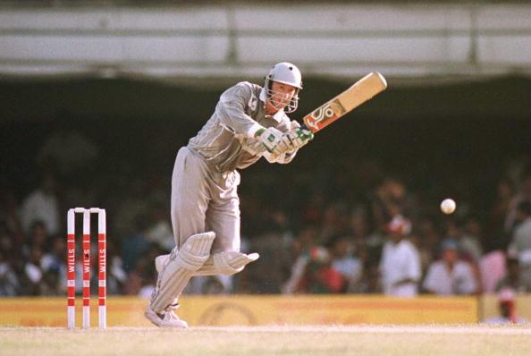 11 Mar 1996:  Chris Harris of New Zealand plays a shot in his innings of 130 during the World Cup Quarter Final between Australia and New Zealand played in Madras, India. Mandatory Credit: Graham Chadwick/ALLSPORT