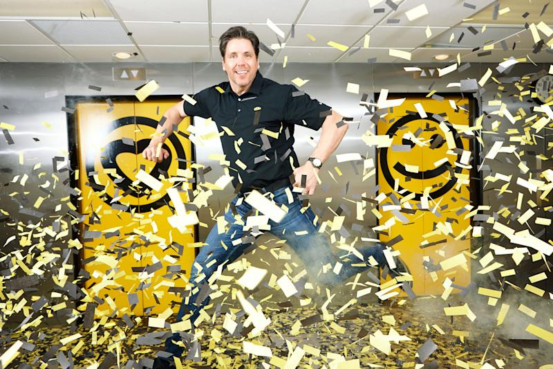 </a> Sinelli enjoys the confetti cannon at Which Wich's Dallas headquarters.Photograph by Nancy Newberry for Fortune