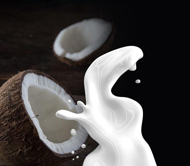 Mostly used for cooking, one cup of unsweetened coconut milk has 45 calories and 4 grams of fat, which is mostly saturated fat due to the coconut cream. It doesn't contain any protein, but is fortified with vitamin A, calcium, vitamin B12 and vitamin D.