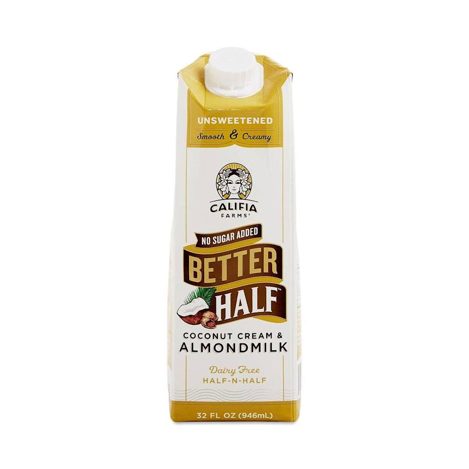 "<p><strong>Califia Farms</strong></p><p>thrivemarket.com</p><p><strong>$4.69</strong></p><p><a href=""https://go.redirectingat.com?id=74968X1596630&url=https%3A%2F%2Fthrivemarket.com%2Fp%2Fcalifia-farms-coconut-cream-almond-milk-better-half-unsweetened-32-oz-container%3Fgclid%3DCjwKCAiAt9z-BRBCEiwA_bWv-MHJ8C-0XysPytCzfRf2WRJcd1LcpWUNS4-F5Y364Pw6OhLewBRqIRoC0fUQAvD_BwE&sref=https%3A%2F%2Fwww.redbookmag.com%2Ffood-recipes%2Fg34991062%2Fhealthy-keto-coffee-creamers%2F"" rel=""nofollow noopener"" target=""_blank"" data-ylk=""slk:BUY NOW"" class=""link rapid-noclick-resp"">BUY NOW</a></p><p>This is keto-friendly, but it's also dairy-free, Whole30-compliant, and vegan, too.</p>"