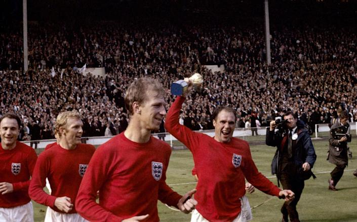 World champions: l-r, George Cohen, Bobby Moore, Charlton and Ray Wilson - PA