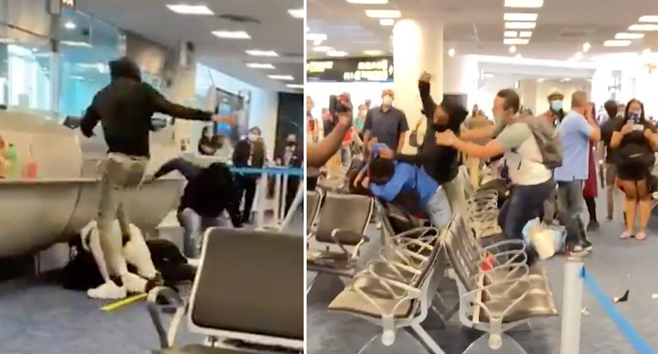 The brawl at Miami airport over standby seats. Source: Twitter/Tommy in Hialeah