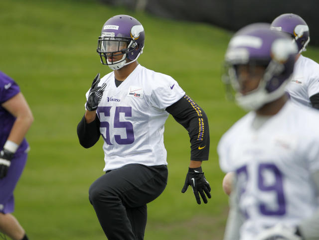 Linebacker Anthony Barr (55) takes part in a drill during Minnesota Vikings minicamp in Eden Prairie, Minn., Friday, May 16, 2014. New Vikings coach Mike Zimmer set to work getting young players like Barr, quarterback Teddy Bridgewater, and defensive backs Antone Exum and Kendall James up to speed on what will be expected of them in the NFL. (AP Photo/Ann Heisenfelt)