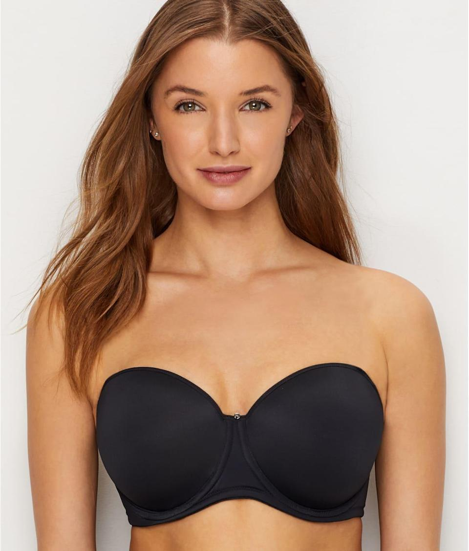 """<p><strong>Key selling points:</strong> Available in sizes 30DD to 40GG, this molded bra offers a rounded silhouette with foam-lined underwire cups, plus boning on the sides for extra support. The material is stretchy microfiber, and the back stays securely closed thanks to the three-row hook. </p> <p><strong>What customers say:</strong> """"This strapless bra is a GAME CHANGER. I am an American 38I, and ordered a 38G in this bra. I am 5'5, and 225lb, with very large, heavy, very round breasts. Strapless bras just have not been something I could wear in years, thus making strapless or spaghetti strap clothing not an option. But this bra CHANGES EVERYTHING. I wore this bra as a trial out to dinner and then shopping after. After that my boyfriend and I wrestled the cushion covers back on the couch cushions for like an hour. Not once, NOT ONCE did I have to pull up or adjust this bra. It was not falling down around my waist, I did not have to keep pulling it up or adjusting the girls. I put the bra on, it stayed on, and I never had to move it. AMAZING. I figured maybe I could wear it to dinner, as long as I didn't bounce around or jostle too much. But after wrestling the cushion covers back on the cushions, I'm confident I could wear this to a wedding and dance the night away."""" <em>—HeavyBoobsMcGee, reviewer on</em> <a href=""""https://cna.st/affiliate-link/SuY3GDypHTHrCiVPiDN6bGftEEryN5rxry3phMgXF9edXWHGSbQ5TxqZnARysSohwqpQ3KLeU6Sen5kZAry7Ntryg4K5wuDyQArw4wpqqMabgBR2quLetnfiEPKgxgppBDNa2YnAPLXjHNTpgL3WDFzVohZXdp3ut8MRGm9vjrucPW2xrhfydGD3cBecJFL?cid=5f40106d26150ed024976bff"""" rel=""""nofollow noopener"""" target=""""_blank"""" data-ylk=""""slk:Bare Necessities"""" class=""""link rapid-noclick-resp""""><em>Bare Necessities</em></a></p> $69, Bare Necessities. <a href=""""https://www.barenecessities.com/fantasie-aura-strapless-bra-fl2320_product.htm?pf_id=FantasieFL2320&color=Black"""" rel=""""nofollow noopener"""" target=""""_blank"""" data-ylk=""""slk:Get it now!"""" class=""""link rapid-noclick-resp"""">Get it now!</a>"""