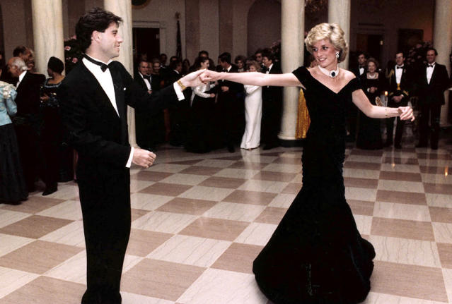 "<p>So Diana and Travolta weren't really friends, but they did share an iconic moment, on the evening of Nov. 9, 1985, when both were guests at a White House dinner <span>— </span>and not by accident. <i>People</i> reported at the time that Travolta had been invited as part of <a href=""http://people.com/archive/princess-diana-vol-24-no-26/"" rel=""nofollow noopener"" target=""_blank"" data-ylk=""slk:first lady Nancy Reagan's plan"" class=""link rapid-noclick-resp"">first lady Nancy Reagan's plan</a> to show the royal a good time. ""When the music from your movie comes up, if you wouldn't mind just asking her if she'd care to dance,'"" Travolta recalled FLOTUS asking him. He did and they did ""spins and turns"" and what he called a ""modern fox-trot"" to ""You Should Be Dancing"" and ""Disco Inferno."" Is there anything more '80s than that? (Photo: Ronald Reagan Library/AP) </p>"