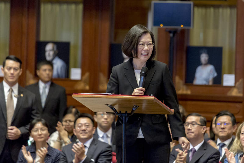 TAIPEI, TAIWAN - OCTOBER 21: Taiwan's President Tsai Ing-wen gives a speech during the opening ceremony of the congress of the International Federation of Human Rights (FIDH) at the Gran Hotel on October 21, 2019 in Taipei, Taiwan. The International Federation for Human Rights, (FIDH) organizes its 40th Congress, bringing together over 400 human rights defenders from around the world, with a focus on reclaiming the universality of human rights. Every three years, FIDH member organizations come together for the Federation's congress. ( Photo by Omar Havana / Getty Images )