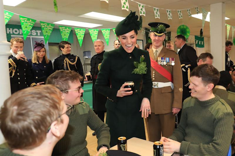 The Duchess of Cambridge also met with the Irish Guards. (WPA Pool via Getty Images)