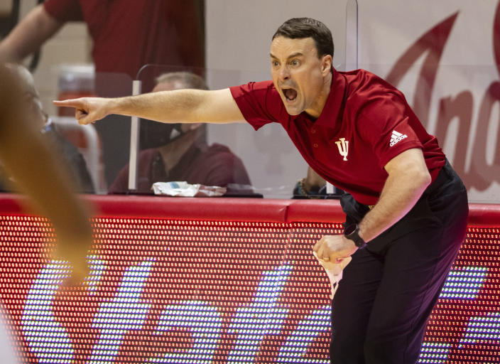 Indiana head coach Archie Miller reacts to the action on the court during the first half of an NCAA college basketball game against Iowa, Sunday, Feb. 7, 2021, in Bloomington, Ind. (AP Photo/Doug McSchooler)