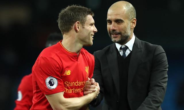 "<span class=""element-image__caption"">Pep Guardiola, right, said: 'We arrived here against Liverpool, who haven't had European football and had all week to prepare, and how we fight and how we showed spirit.'</span> <span class=""element-image__credit"">Photograph: Martin Rickett/PA</span>"