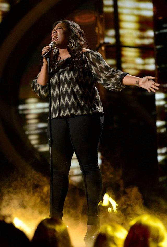 "Candice Glover performs ""Find Your Love"" on the Wednesday, April 24 episode of ""American Idol."""