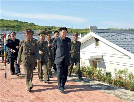 North Korean leader Kim Jong-un is pictured during his inspection of the defence detachment on Jangjae Islet and the Hero Defence Detachment on Mu Islet