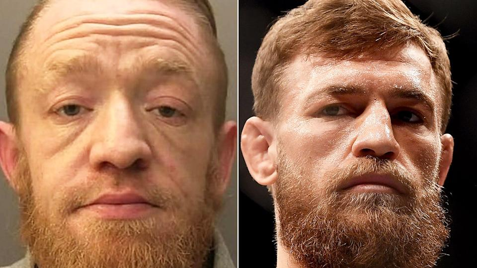 Mark Nye (pictured left) allegedly impersonated UFC star Conor McGregor (pictured right) to help his drug business. (Images: Surrey Police/Getty Images)