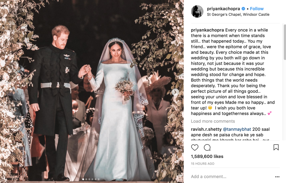 Meghan's friends sent touching messages to her after the Big Day.