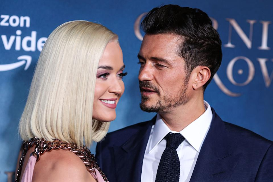 HOLLYWOOD, LOS ANGELES, CALIFORNIA, USA - AUGUST 21: Singer Katy Perry and fiance/actor Orlando Bloom arrive at the Los Angeles Premiere Of Amazon's 'Carnival Row' held at the TCL Chinese Theatre IMAX on August 21, 2019 in Hollywood, Los Angeles, California, United States. (Photo by Xavier Collin/Image Press Agency/Sipa USA)