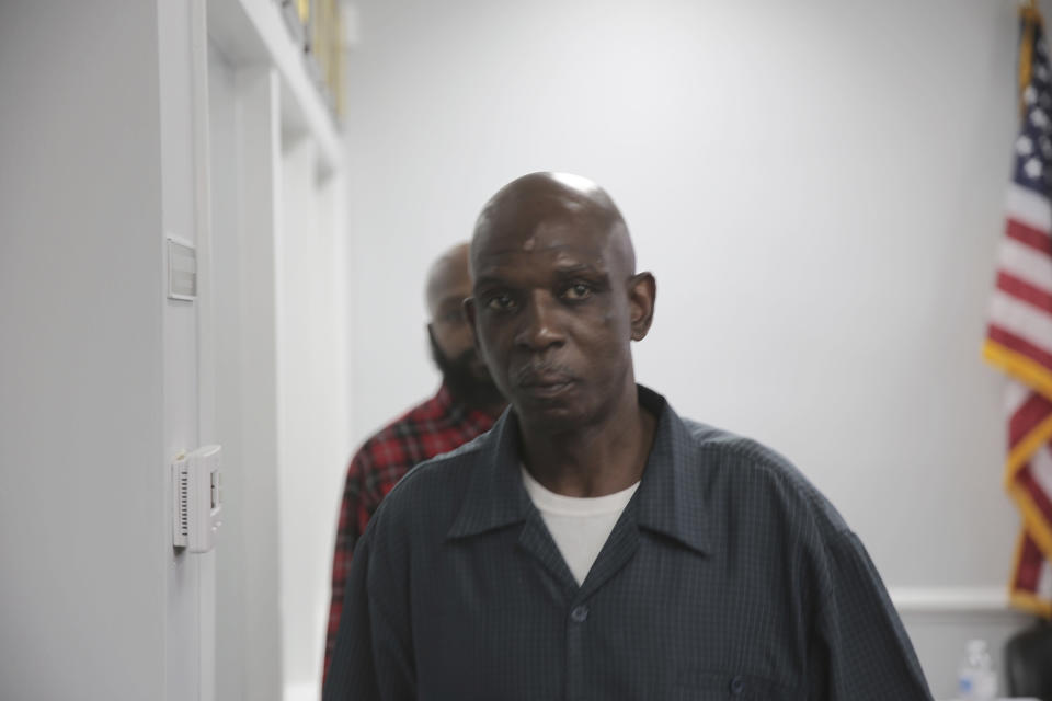 A scar can be seen on the forehead of Clarence Gailyard after he watched body camera video of an officer stomping him in the neck on July 26. The video was shown at a news conference Tuesday, Aug. 3, 2021 in Orangeburg, South Carolina. Orangeburg Public Safety officer David Lance Dukes was fired and charged with a felony after the July 26 incident. (AP Photo/Jeffrey Collins)